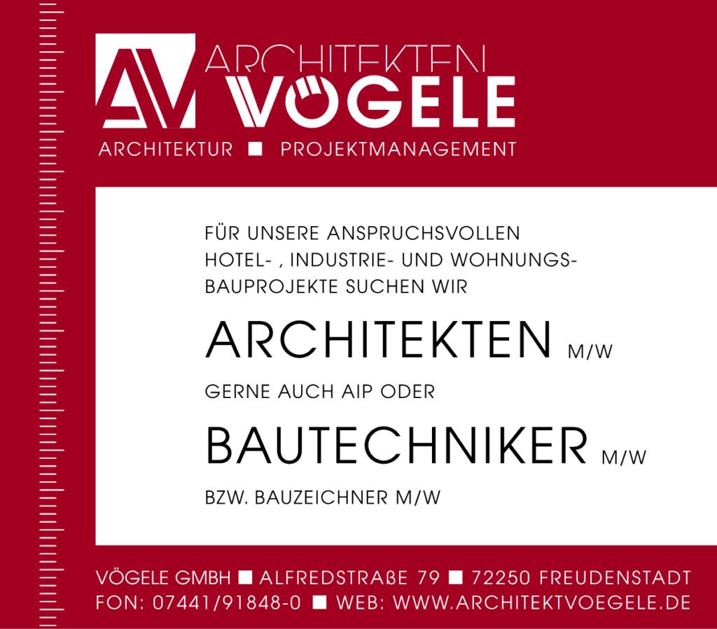 Wir suchen Sie - Stellenangebote - Vögele GmbH - Für unsere anspruchsvollen Hotel-, Industrie- und Wohnungsbauprojekte suchen wir Architekten - m/w gerne auch AIP oder Bautechniker - m/w bzw. Bauzeichner - m/w